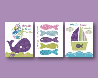 Take a bath Brush your teeth Wash your hands nautical whale Boat fish blue pink purple green bathroom Set of three prints
