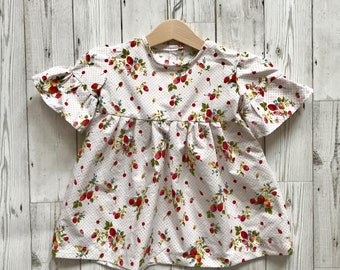 Strawberry Girls Dress - Strawberry Print Baby Dress - Girls Summer Dress - Vintage Style Baby Dress - Strawberry Dress