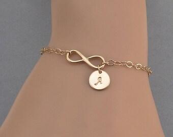 Rose Gold Infinity Initial Bracelet, Rose Gold Friendship Bracelet, Infinity Bracelet, Personalized Bridesmaid Bracelet, Adjustable Bracelet