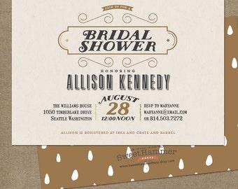 Bridal Shower Invitations Vintage look Printed Bridal Shower Invites Gold and Cream Wedding Shower Invites Unique Shower