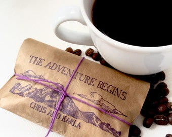 Rustic Wedding Favors. Freshly roasted coffee favors with custom stamp. Made to order. Set of 50.