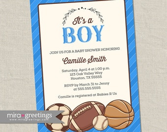 Vintage Sports Baby Shower Invitation - Baby Boy Shower Invite - soccer football baseball basketball cards (printable digital file)