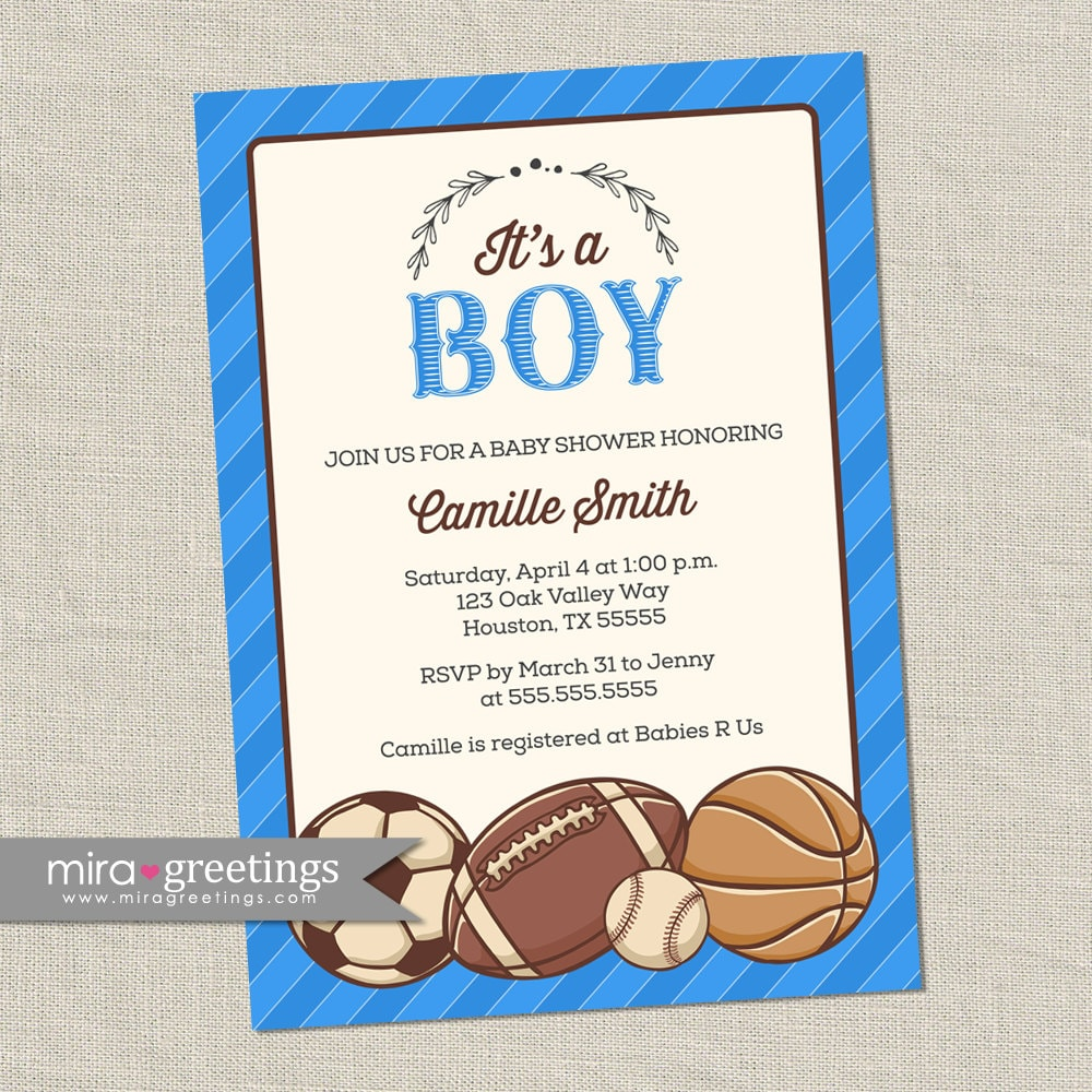 Vintage Sports Baby Shower Invitation - Baby Boy Shower Invite ...