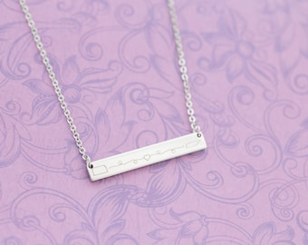 Long Distance Relationship or Friendship Necklace - Any States or Country - Engraved Jewelry - Bar Necklace - Deployment - BFFS