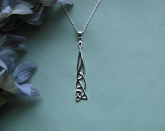 Beautiful Sterling Silver Celtic Design Drop-Pendant with Sterling Silver Chain