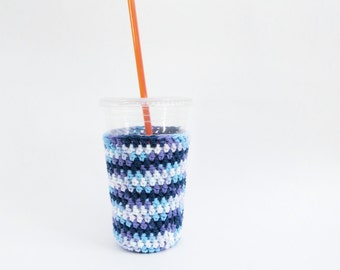 crochet coffee cozy. iced medium coffee cozy. Blue ombre cup cozy. Cotton cup sleeve. Eco friendly cup jacket. Summer drink cozy. cup cozy