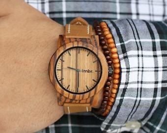 Wood Watch, Minimalist Men's Zebra Wood Watch, Brown Leather Strap Watch - BRLY-Z