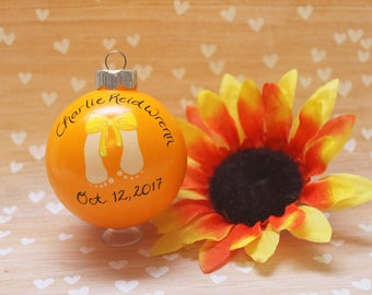 New Baby Gift MADE TO ORDER Christmas Ornament Babys First Christmas Baby Stats Gender Neutral Orange Baby Feet Bow Personalized