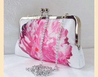 pink clutch bag, floral shoulder bag, white wedding clutch, handmade bridal purse with shoulder chain, pink peony