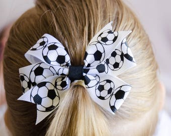 Hair Bow - Small Soccer Ball Print Pinwheel Bow