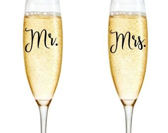 Mr & Mrs Decals, Champagne Decal, Wine Glass Decals, Wedding Stickers, Wedding Decals, Mr and Mrs Stickers, Mr and Mrs Wine Glass Decal