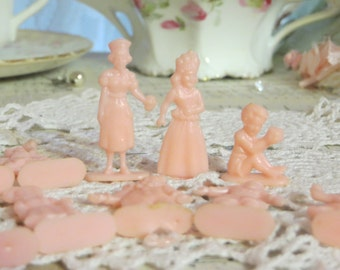 Vintage Pink Plastic People-1950s-Cupcake Toppers-Altered Art-Lot of 12