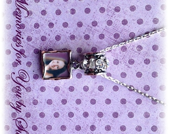 Personalized - Custom Silver Two Sided Photo Pendant Necklace - Keepsake - Memorial