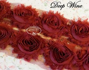 "1 yard DEEP WINE Chiffon Shabby Rose Trim, Hair Bow. 2.5"" size Chiffon Rosettes Trims."