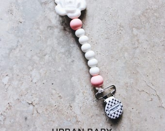 Pacifier Clip, Silicone Pacifier Clip, Teether, Silicone Beads, Food Grade, Chewelry, Aarya, Soft Pink, Pink, Rose, White