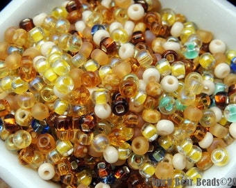 Beaches mix size 6 Czech glass Seed beads 50 grams Loose