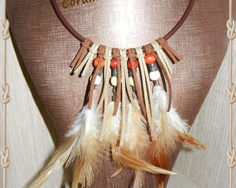 ethnic necklace feathers, suede and wood beads