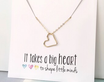 Teacher Necklace, Teacher Gift, Teacher Gift Idea, Thank you Gift for Teacher, Teacher Christmas Gift, Gold Heart Necklace, New Teacher Gift