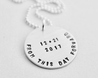 Sobriety Jewelry - Personalized Recovery Date Necklace Hand Stamped From This Day Forward Sobriety Date Jewelry Hand Stamped Sterling Silver