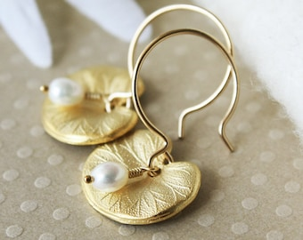 Gold Vermeil Lily Pad Earrings - Pearl Flower Jewelry - Bridesmaid / Birthday / Mother's Day Gift
