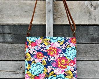 Crossbody Bag, Boho Floral, Genuine Leather, Everyday Purse, Adjustable Strap