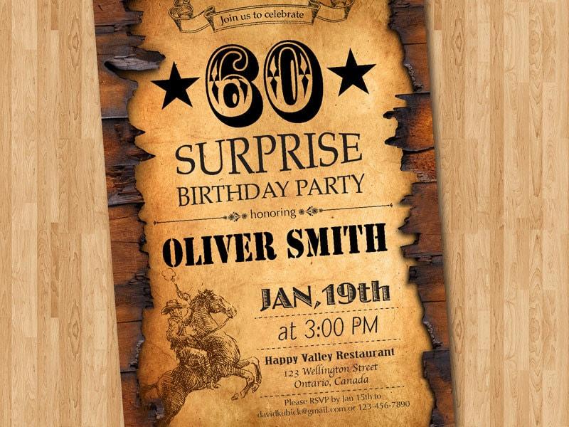 Popular 60th birthday invitation. Western birthday for men. Adult CV46