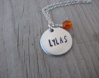 "Friendship Necklace- Hand-Stamped ""LYLAS"" Necklace (which stands for love you like a sister) with an accent bead in your choice of colors"