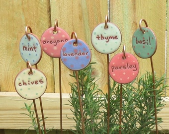 Seven Herbs, Jill Smith, Cooking Gift, Herb Garden Markers, Plant Marker, Herb Garden, Gardening Gift, Plant Markers, Plant