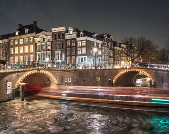 Amsterdam city wintertime,  City by night, Frozen canal historical houses, Long exposure, Light trails, Urban city wall art photo print