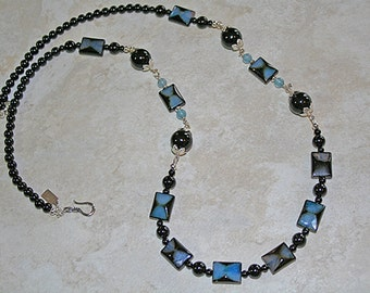 Black Onyx Art Glass Sterling Necklace