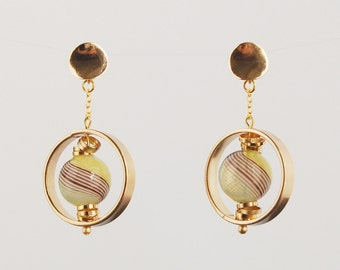 Hand blown glass and gold filled earrings, statement earrings, gold stud earrings, modern earrings, hand blown glass