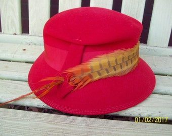 Vintage Red Feathered Hat