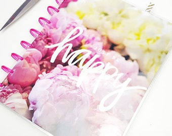 PEONY FLORALS Mini Happy Planner Disc Bound Me & My Big Ideas VERTICAL Layout Laminated Covers, Tab Dividers Calendar pages Mambi Create 365