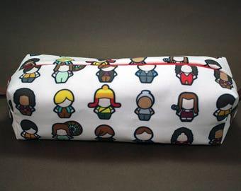 Boxy Makeup Bag - Firefly Character Doodle Print- Pencil Pouch - Malcolm, River, Inara, Wash, Kaylee, Zoe, Jayne, Simon, and Shepherd