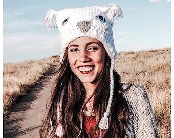 Pure White Hoot Owl Costume Crochet Hat