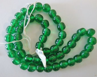 Vintage glass beads (50)  strand Japan emerald green translucent amethyst 8mm bumpy baroque beads Miriam Haskell 14 inch (50)