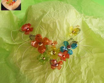 Fancy flower multicolor bottled necklace plastic recycled