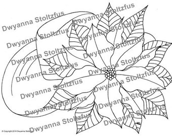 Cowboy Hat and Poinsettia Coloring Page JPG