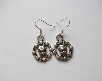 Stering silver and Tibetan silver skull earrings