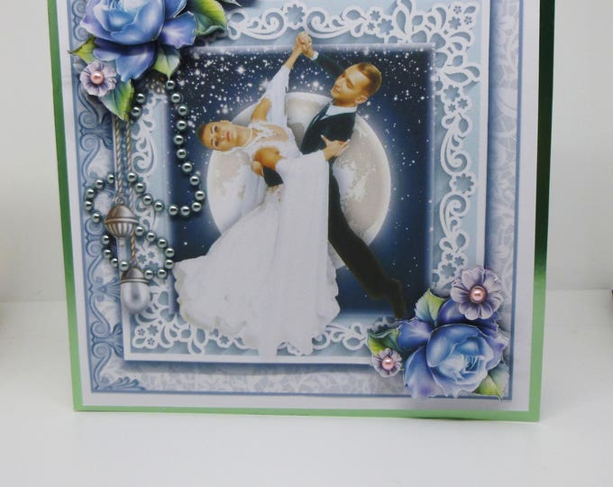 Wedding Card, Anniversary Card, Handmade 3 D Decoupage Card, Congratulations Card, Greeting Card, Dancing In The Moonlight,