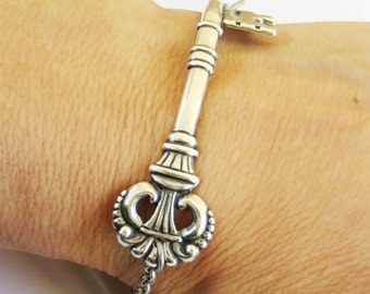 Steampunk Victorian Skeleton Key Bracelet Sterling Silver Ox Finish Alice in Wonderland Inspired