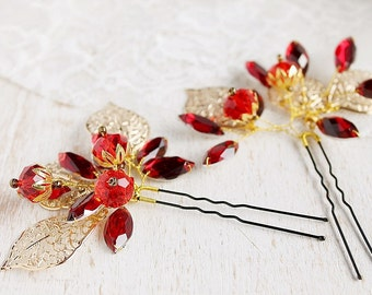 Red Crystal Hair Pins, Gold Leaves Bridal Clips, Prom Hair Jewelry, Wedding Up Do, Small Hair Jewelry, Crystal Hair Pins, Red Bridal Clips