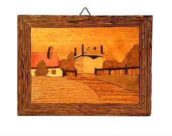 Art Wood Inlay Marquetry Handmade Wall Dutch 1950s Farm Landscape Haystack Estate Grain Trees Hills Cottage Forest Brown Boulevard Vintage