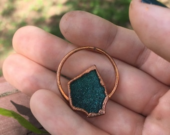Recycled Glass Necklace, Recycled Glass Pendant, Recycled Jewelry, hippie jewelry, electroformed necklace, copper necklace, hippie necklace