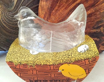 Vintage French Candy Dish - Made In France - Vintage Luminarc Hen Candy Dish - French Glass Hen Dish - French Candy Dish - French Hen Dish
