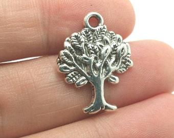 BULK 40 Tree Charms, Silver Tree Charms, Bulk Charms (5-1106)