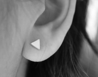 Silver Triangle Earrings - 925 Sterling Silver Triangle Earrings, silver triangle stud