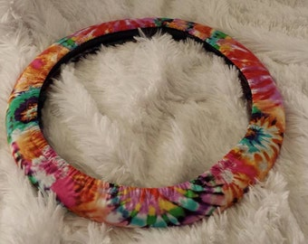 Fully Lined All-Weather Mad About Mod * Tie Dye *  Steering Wheel Cover * Seat Belt Cover