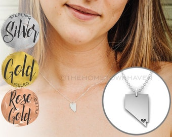 Nevada Necklace - Nevada state necklace, Nevada map necklace, Gold and Rose Gold available