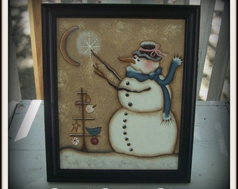 Holiday Snowman Tree Canvas Primitive Framed Art Decoration